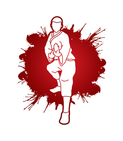 guy standing: Kung fu action ready to fight front view designed on splatter blood background graphic vector.