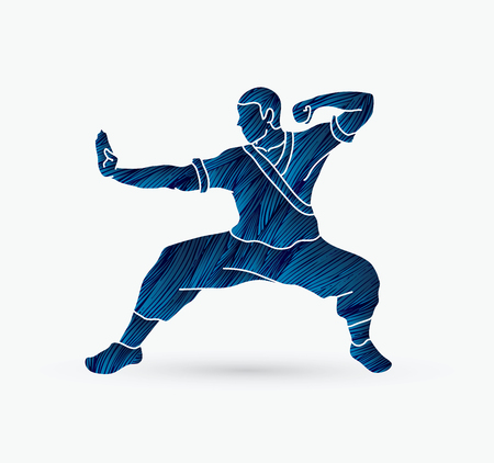 Kung fu action ready to fight designed using grunge brush graphic.