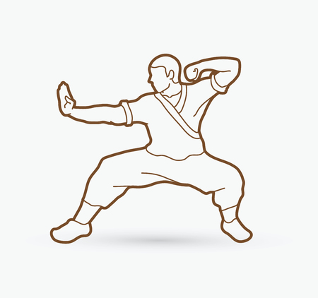 Kung fu action ready to fight outline graphic.