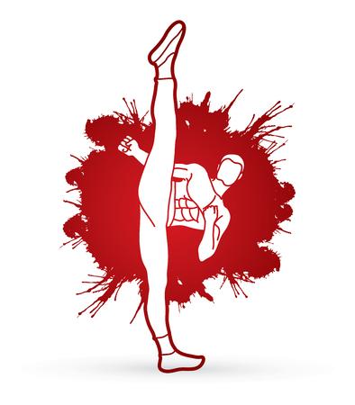 Kung fu, Karate high kick front view designed on splatter blood background graphic vector.