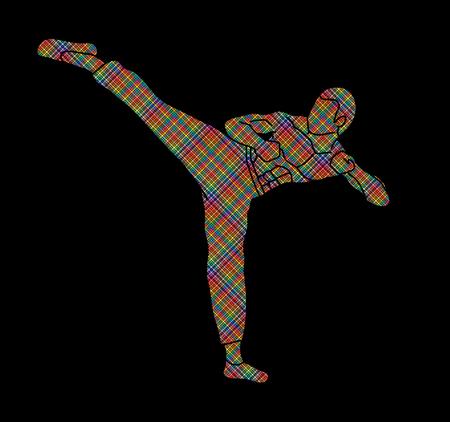 Kung fu, Karate kick designed using colorful pixels graphic vector