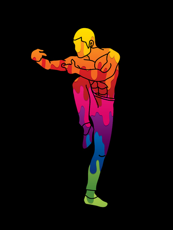 Drunken Kung fu pose designed using melting colors graphic vector.