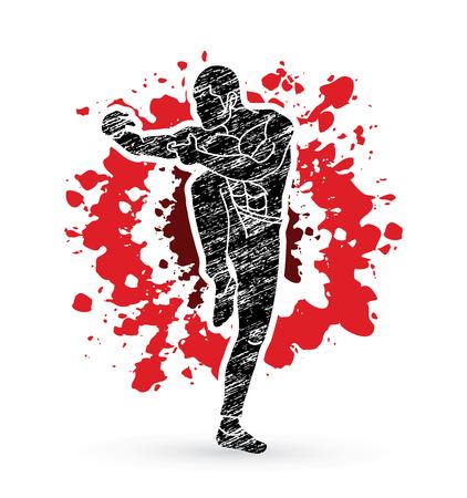 Drunken Kung fu pose designed on splatter blood background graphic vector.