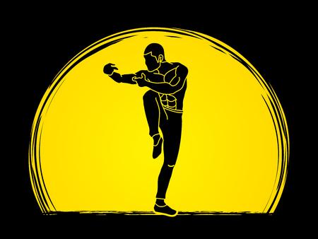 Drunken Kung fu pose designed on sunlight background graphic vector.