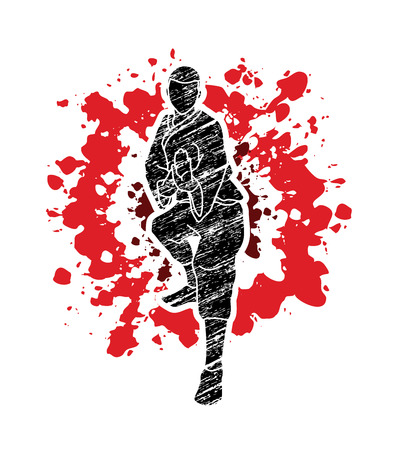 Kung fu action ready to fight front view designed on splatter bloodl background graphic vector. Illustration