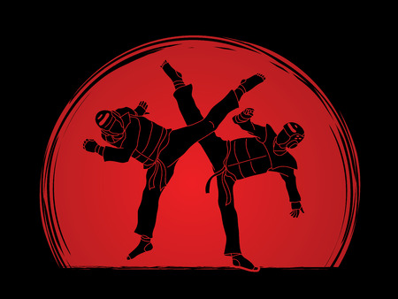 warriors: Taekwondo fighting designed on sunlight background graphic vector.