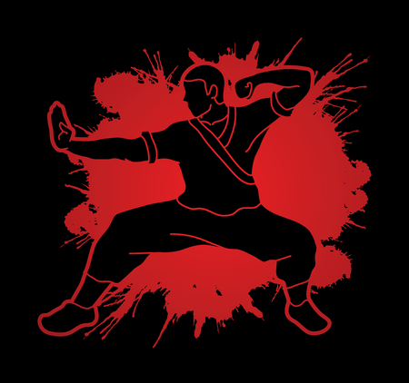 Kung fu action ready to fight designed on splatter blood graphic vector.