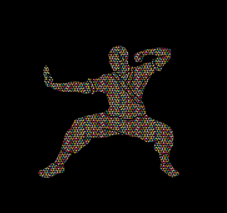 Kung fu action ready to fight designed using colorful mosaic graphic vector. Illustration