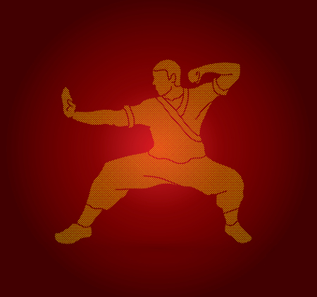 Kung fu action ready to fight designed using dots pixels graphic vector.