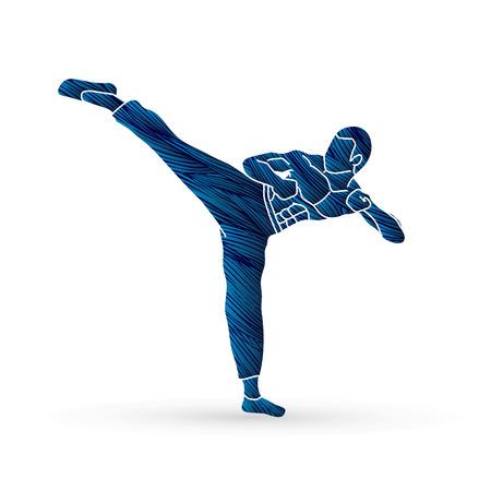 Kung fu, Karate kick designed using grunge brush graphic vector Illustration