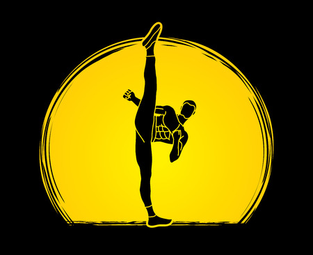 Kung fu, Karate high kick front view designed on moonlight graphic vector.