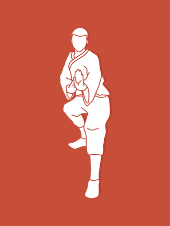 Kung fu action ready to fight front view graphic vector.