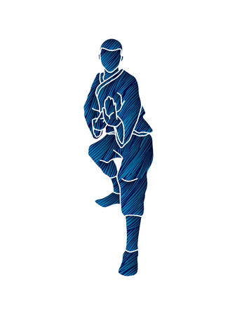 Kung fu action ready to fight front view designed using blue grunge brush graphic vector.