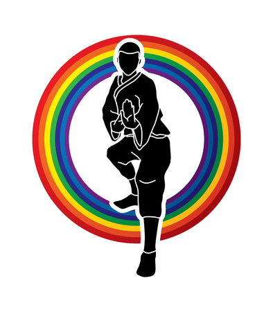 Kung fu action ready to fight front view designed on rainbows graphic vector.