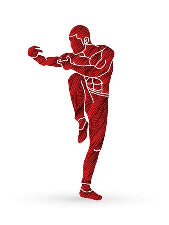 Drunken Kung fu pose designed using red grunge brush graphic vector.