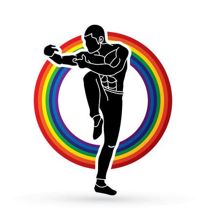 Drunken Kung fu pose designed on rainbows graphic vector. Illustration