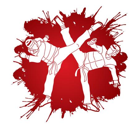 Taekwondo fighting designed on splatter blood background graphic vector.