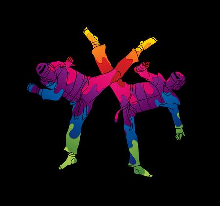 Taekwondo fighting designed using melting colors graphic vector. Illustration