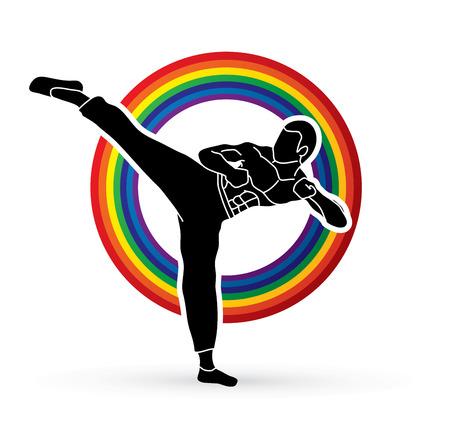 Kung fu, Karate kick designed using dots pixels graphic vector