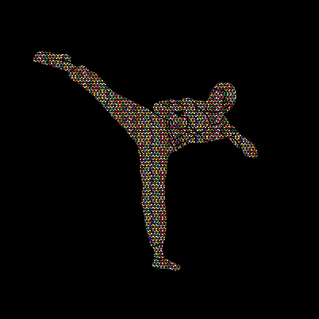 Kung fu, Karate kick designed using geometric pattern graphic vector