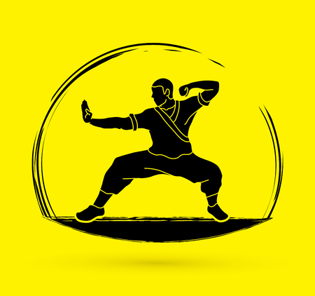 Kung fu action ready to fight graphic vector. Stock Vector - 86295944