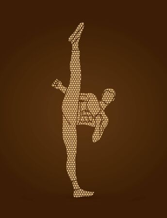 Kung fu, Karate high kick front view designed using polygons pattern graphic vector.