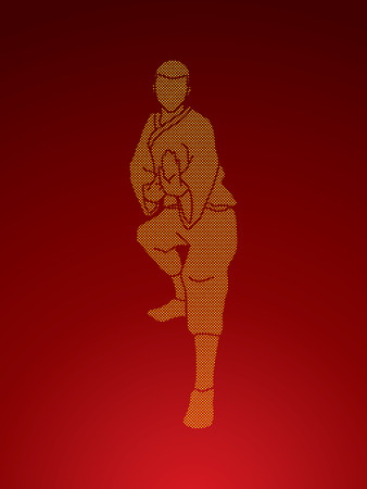 Kung fu action ready to fight front view designed using dots pixels graphic vector.