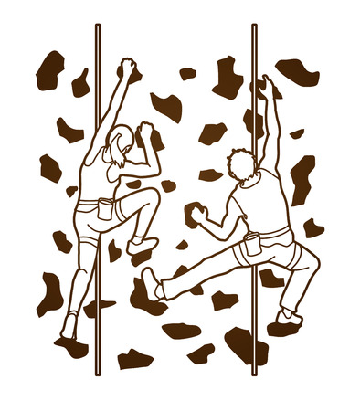 Man and woman climbing on the wall together, Hiking indoor designed outline graphic vector.