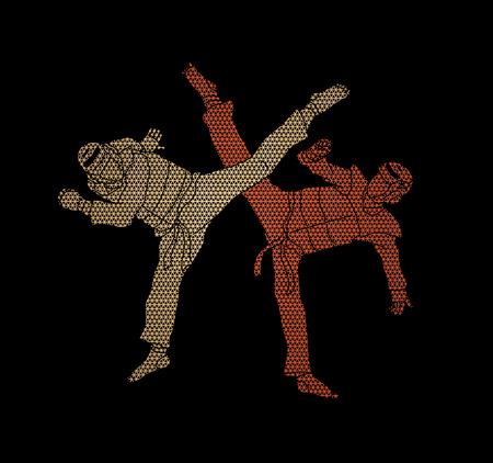 Taekwondo fighting designed using geometric pattern graphic vector.
