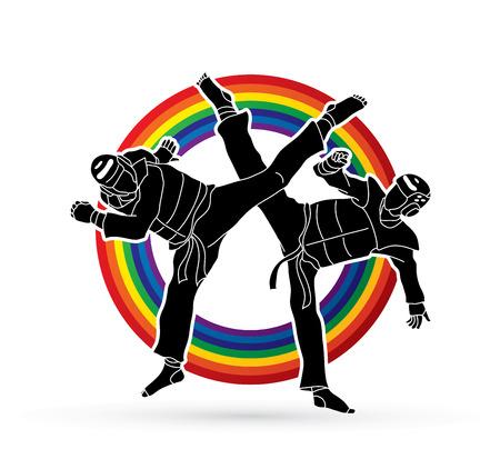 Taekwondo fighting designed on line rainbow background graphic vector.