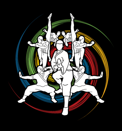 Kung fu action composition designed on spin wheel graphic vector. Illustration