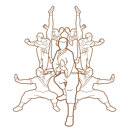 Kung fu action composition outline graphic vector.