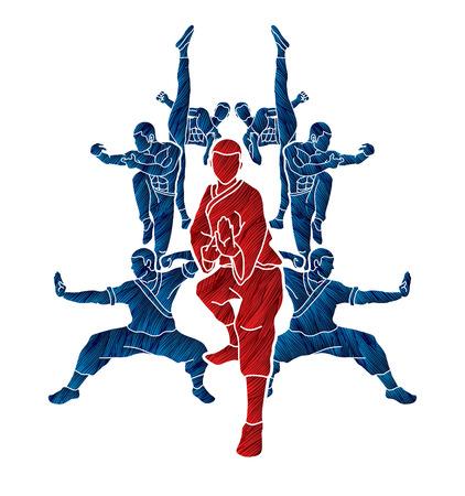 Kung fu action composition designed using grunge brush graphic vector. Illustration
