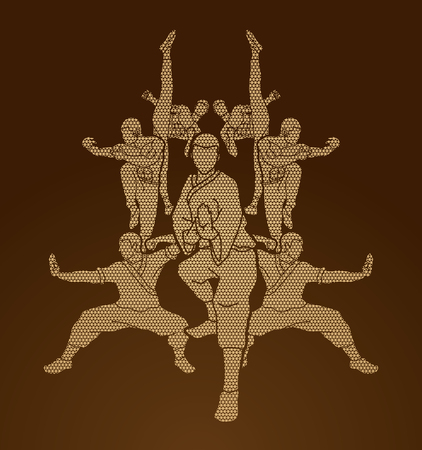 Kung fu action composition designed using geometric pattern graphic vector