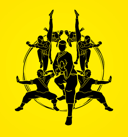 Kung fu action composition graphic vector