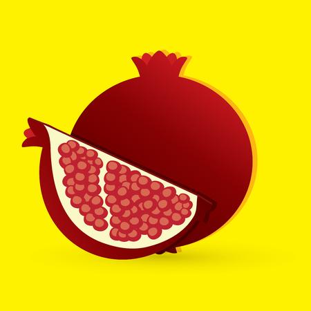 screen printing: Pomegranate fruit graphic vector Illustration