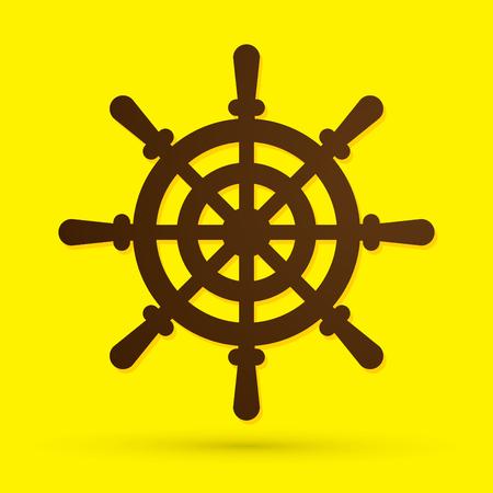 caribbean cruise: Ship steering wheel designed grunge brush graphic vector.