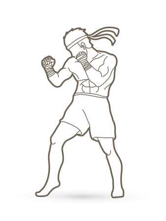 Muay Thai fighter man standing in outline graphic illustration.