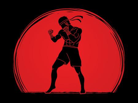 Muay Thai fighter man standing graphic illustration on sunlight background. Vettoriali