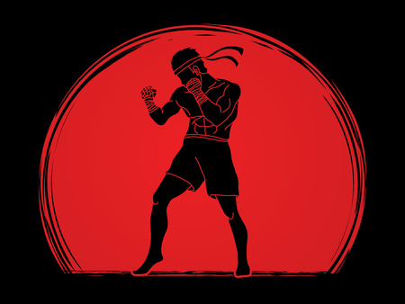 Muay Thai fighter man standing graphic illustration on sunlight background. Иллюстрация