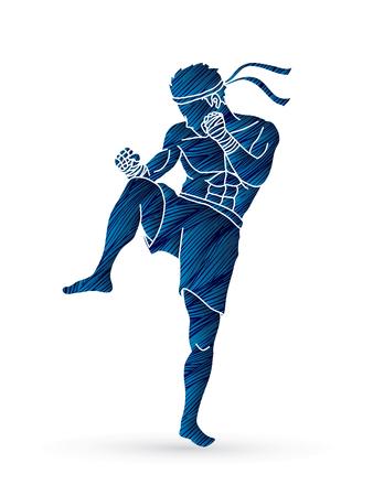 Acción tailandesa del boxeo diseñada usando la ilustración gráfica del cepillo del grunge.