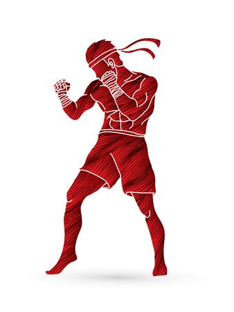 Boxeo tailandés que se coloca diseñado usando la ilustración gráfica del cepillo del grunge. Ilustración de vector