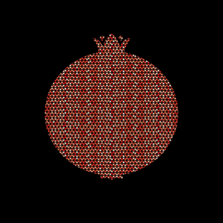 Pomegranate fruit designed using geometric pattern graphic vector