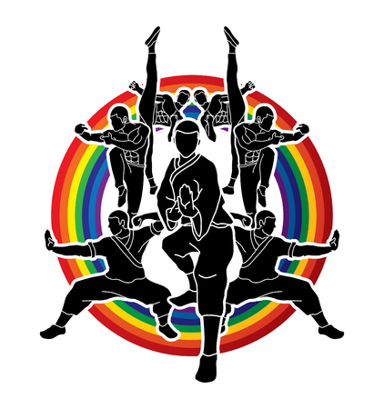 Kung fu action composition designed on line rainbows background graphic vector