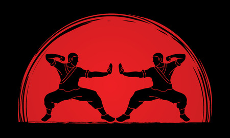Kung fu action ready to fight designed on sunlight background graphic vector. Illustration