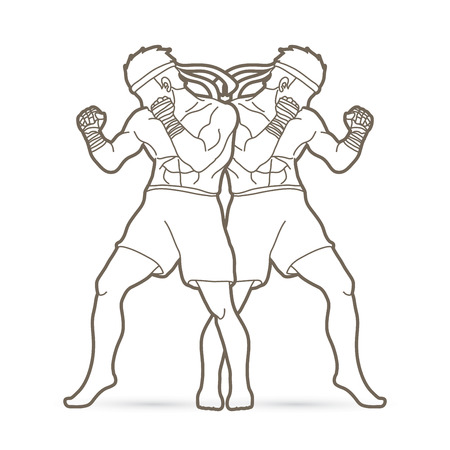 Muay Thai, Thai boxing standing action outline graphic vector. Illustration