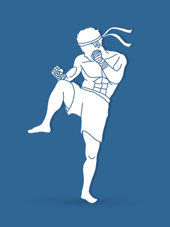 Muay Thai, Thai Boxing action graphic vector.