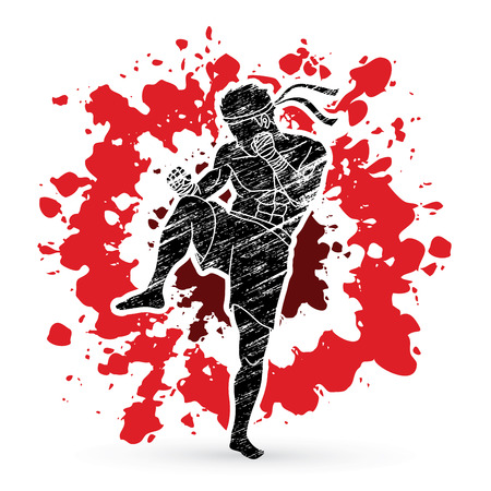 Muay Thai, Thai Boxing action designed on splash blood graphic vector.