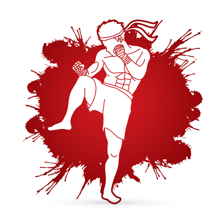 Muay Thai, Thai Boxing action designed on splatter  blood graphic vector.