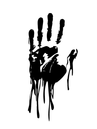 Black bloody hand graphic vector
